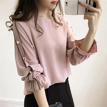 Plus Size Chiffon Shirt Female 2018 Blusa Beaded Tops Autumn Long-sleeved Solid Color Women Blouse W