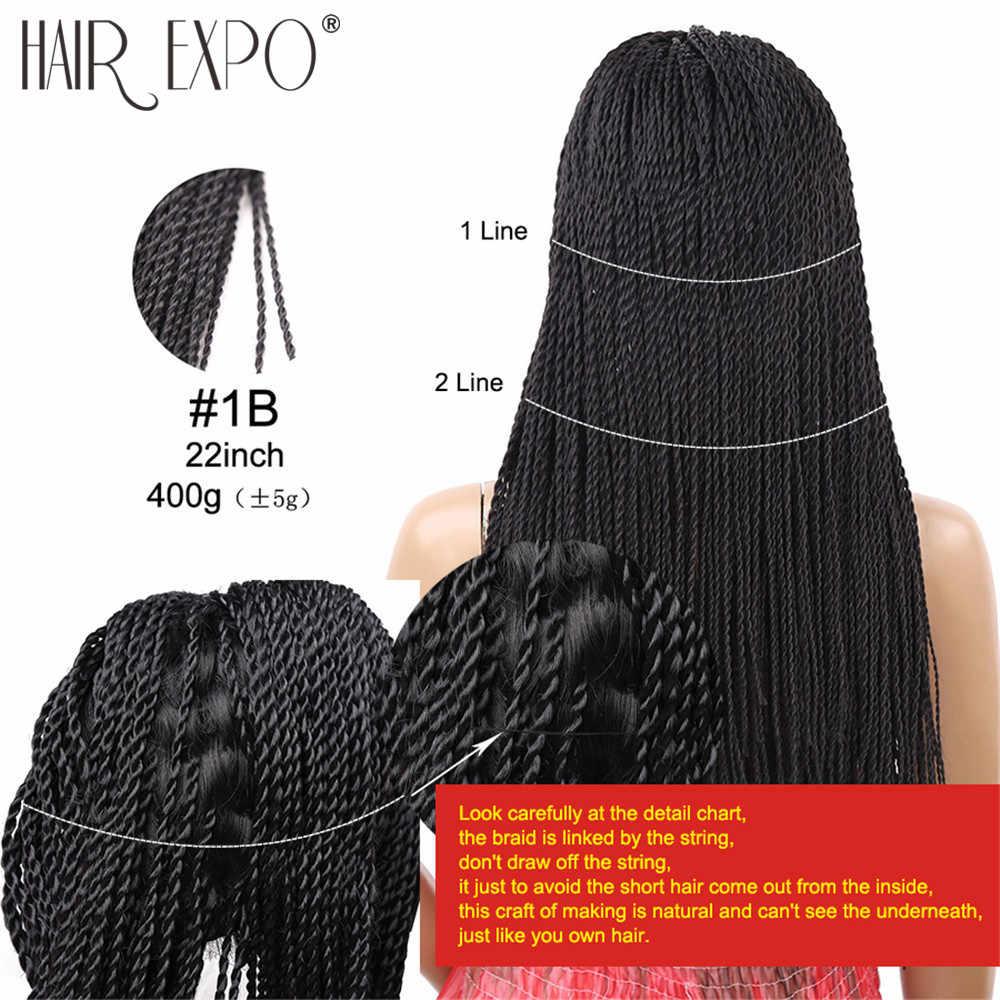 22inch Lange 2X Twist Zöpfe Perücke Für Schwarze Frauen Synthetische Haar Afro Frisur Perücken Hitze Beständig Haar Expo Stadt