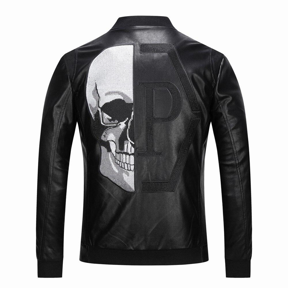 2019 Skull Rhinestones PU Jackets Men Black High Street Stand-Neck Zipper Rib Sleeve Streetwear Motorcycle Faux Leather Coats