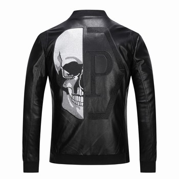 2020 Skull Rhinestones PU Jackets Men Black High Street Stand-Neck Zipper Rib Sleeve Streetwear Motorcycle Faux Leather Coats