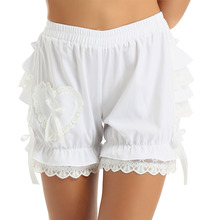Women's Vintage Victorian Gothic Pantaloons Costume Elastic Waist Layered Ruffle Lace Trim Loose Pumpkin Bloomers Safety Shorts