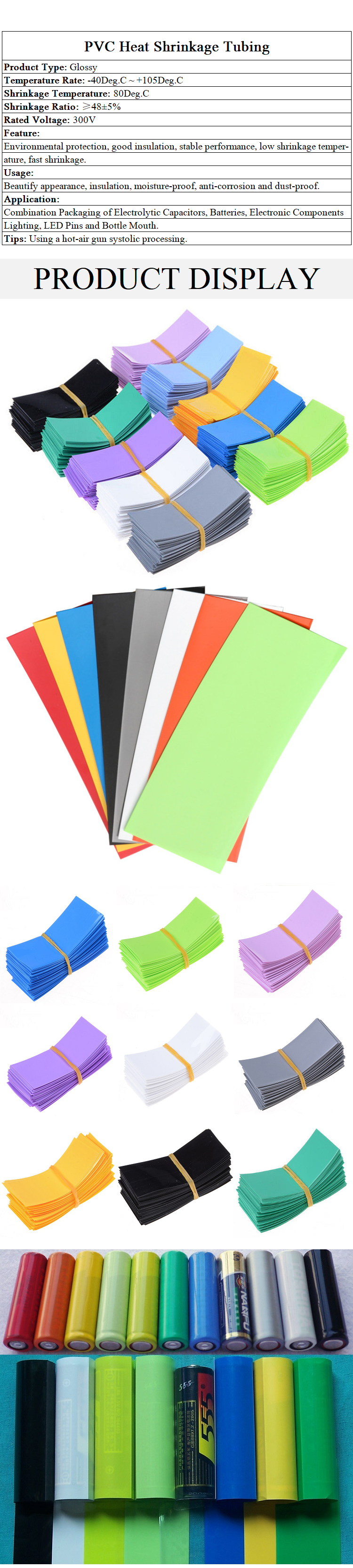 PVC Heat Shrink Tubing Wrap AA Battery Sleeving Width 23mm Length 53mm 15-Color