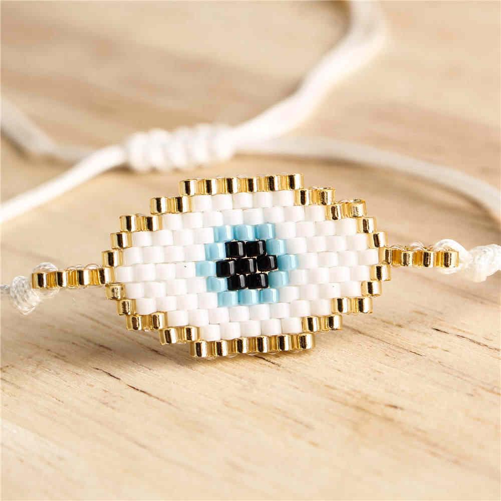 Go2boho-Bracelets en mauvais œil pour femmes, bijoux, style Boho MIYUKI, cadeau pour filles, œil turc, fait à la main, 2020