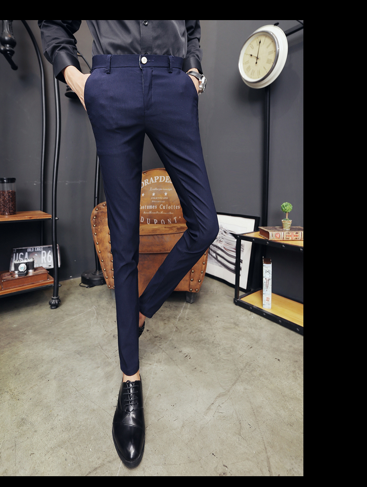 2020 New Pantalon Homme Korean Fashion Solid Pants Men Slim Fit Casual Elastic Streetwear Suit Pant Long Trousers Men Clothing 21