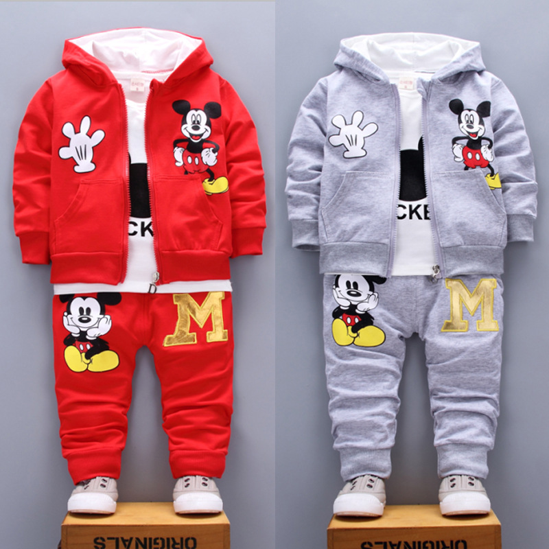 Spring Autumn Baby Girl Boy Clothes Set Cute Mickey Cotton Hooded Coat+T Shirt+Pants 3PCS Suit Casual Kid Children Tracksuits