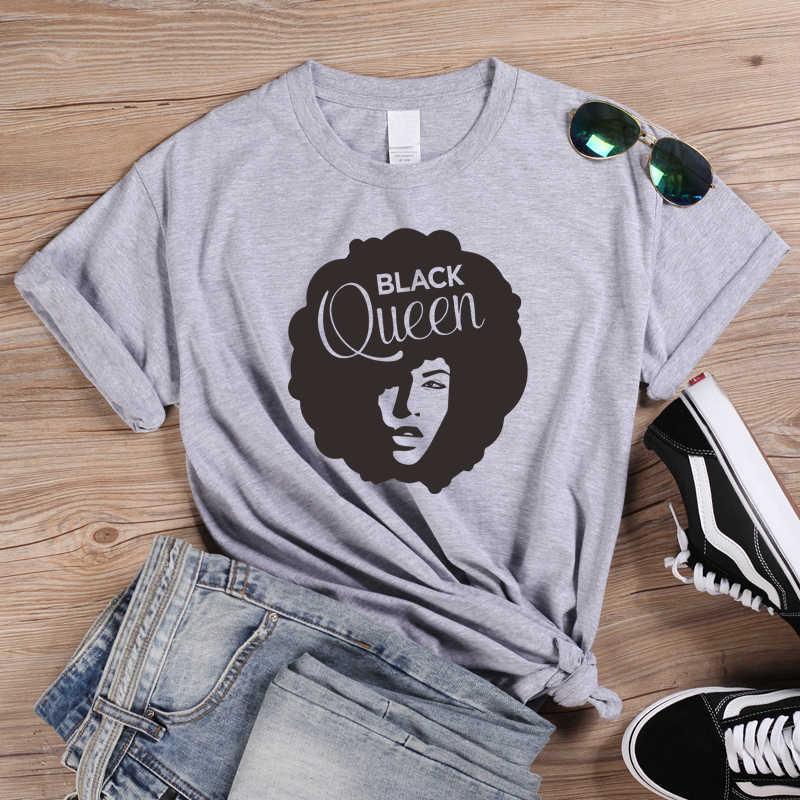 שחור מלכת T חולצה האפרו ליידי גרפי T חולצות פמיניסטית Tees אמונה חולצת טי חולצות נשים הנוצרי חולצה Tumblr כותנה טי