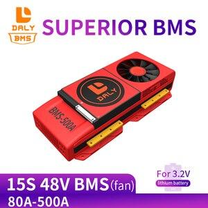 Image 1 - 15S bms LiFePo4 48V 80A 100A 120A 150A 500A 18650 PCM pil koruma levhası BMS dengeli lityum pil modülü fan ile