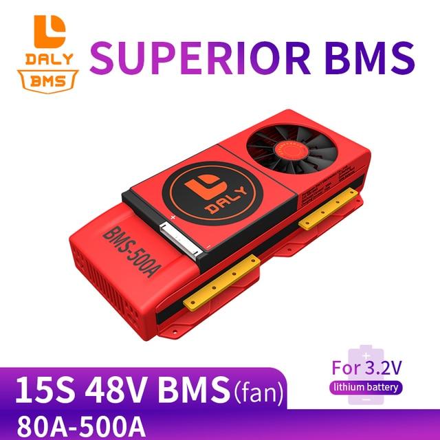 15S bms LiFePo4 48V 80A 100A 120A 150A 500A 18650 PCM pil koruma levhası BMS dengeli lityum pil modülü fan ile