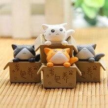 4 Pcs/set Cute Poor Box Cat Model Small Statue Car Figurine Crafts Garden Figure Ornament DIY Miniatures Keychain Figure Toys