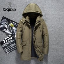2019 Winter Witte Eendendons Jassen Mannen Jassen Mannen Mode Warm Donsjack Slim Fit Hooded Hoge Kwaliteit Parka Overjas bqb793(China)