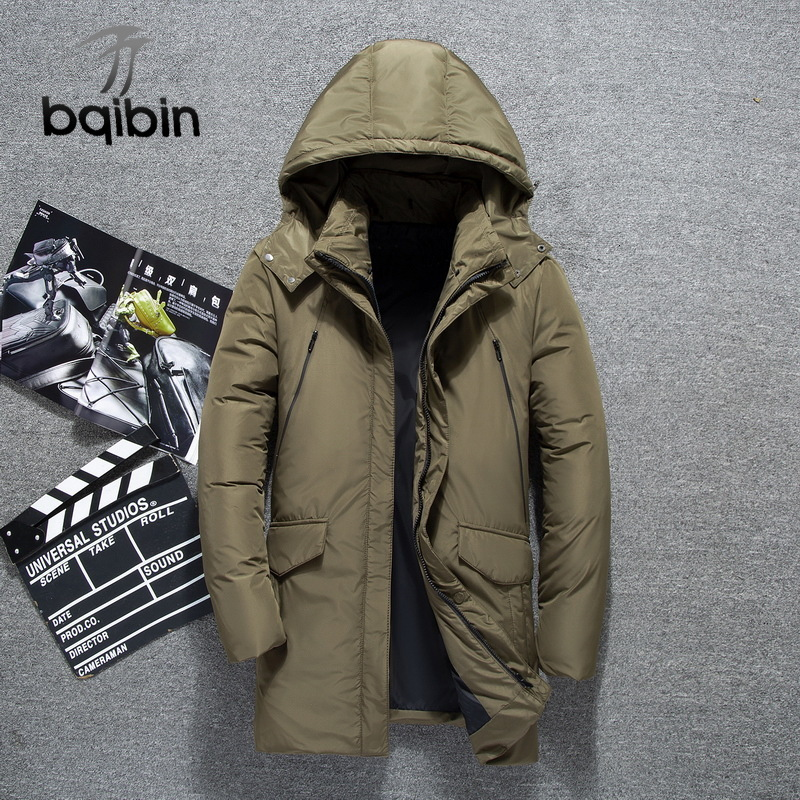 2019 Winter White Duck   Down     Coats   Men Jackets Men Fashion Warm   Down   Jacket Slim Fit Hooded High Quality Parkas Overcoat Bqb793