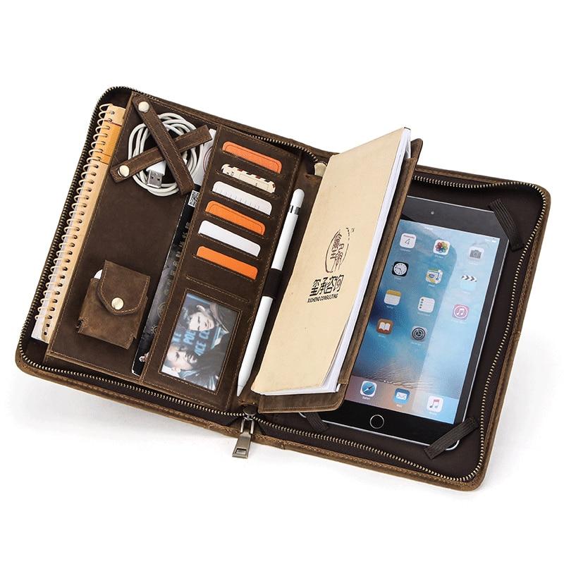 Dossier Padfolio en cuir véritable organisateur pochette à fermeture éclair pour tablette porte-portefeuille d'affaires pour iPad Mini 5 1 2 3 4 7.9 pouces