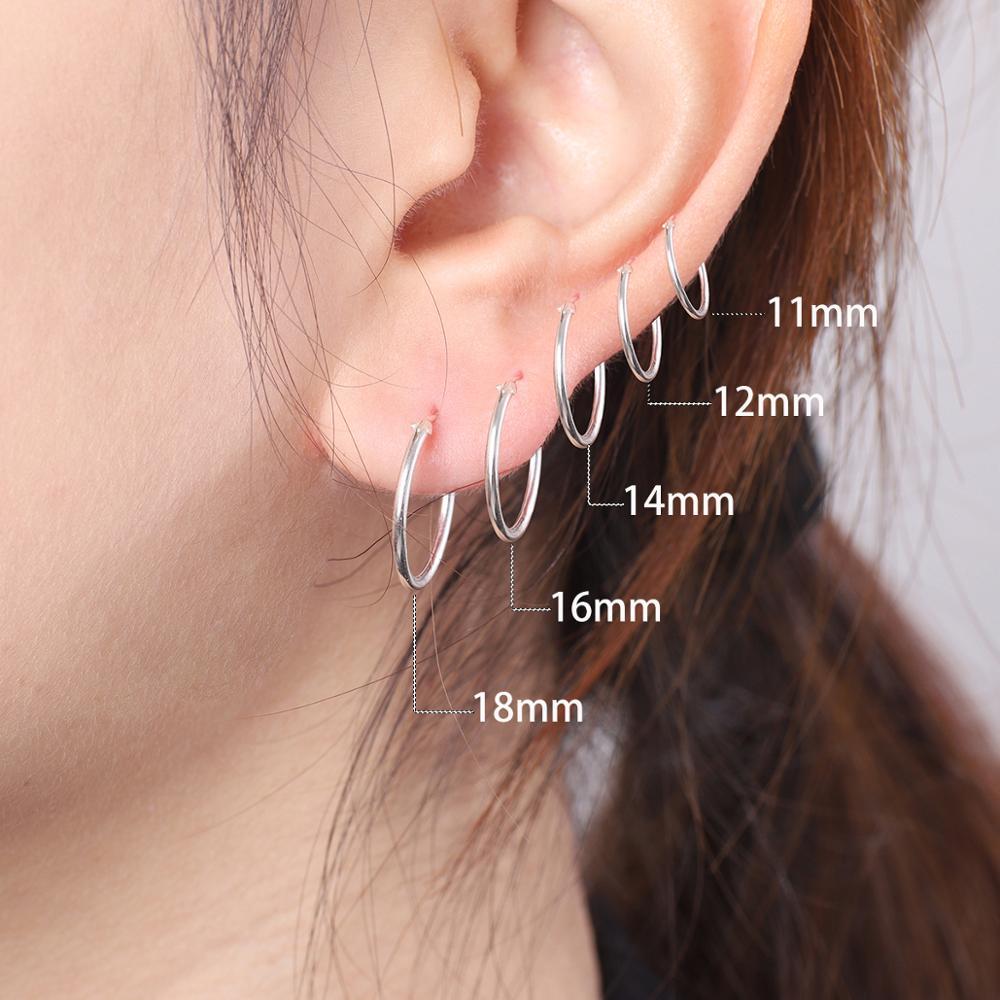 Высококачественные маленькие серьги-кольца 6-18 мм, 1 пара, серебряный Цветной Круг, серьги-кольца для женщин и мужчин, клипсы для ушей, серьги ...