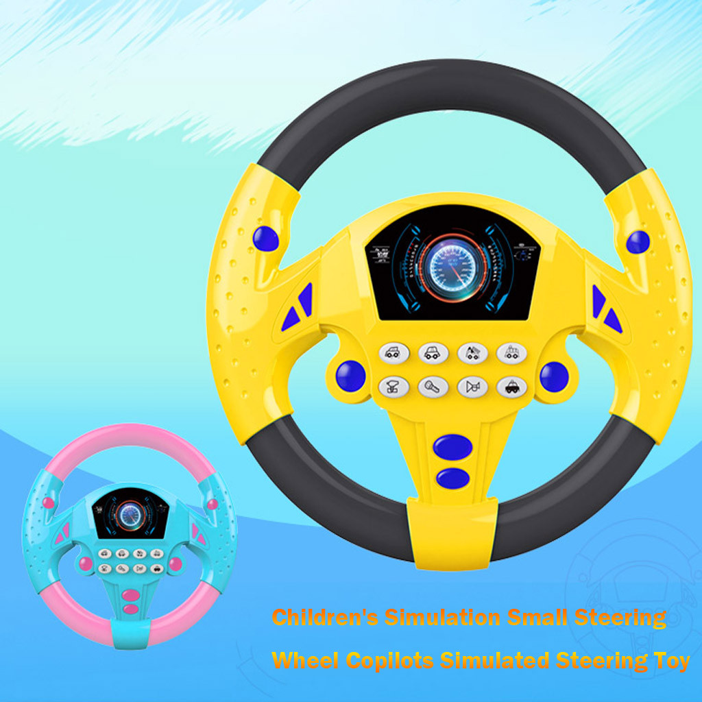Children's Simulation Small Steering Wheel Copilot Simulated Steering Wheel Early Education Puzzle Sound Toy M0923