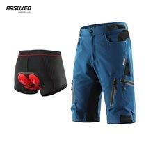 Arsuxeo calções de ciclismo dos homens esportes ao ar livre downhill mtb bicicleta shorts mountain bike underwear 3d gel respirável secagem rápida