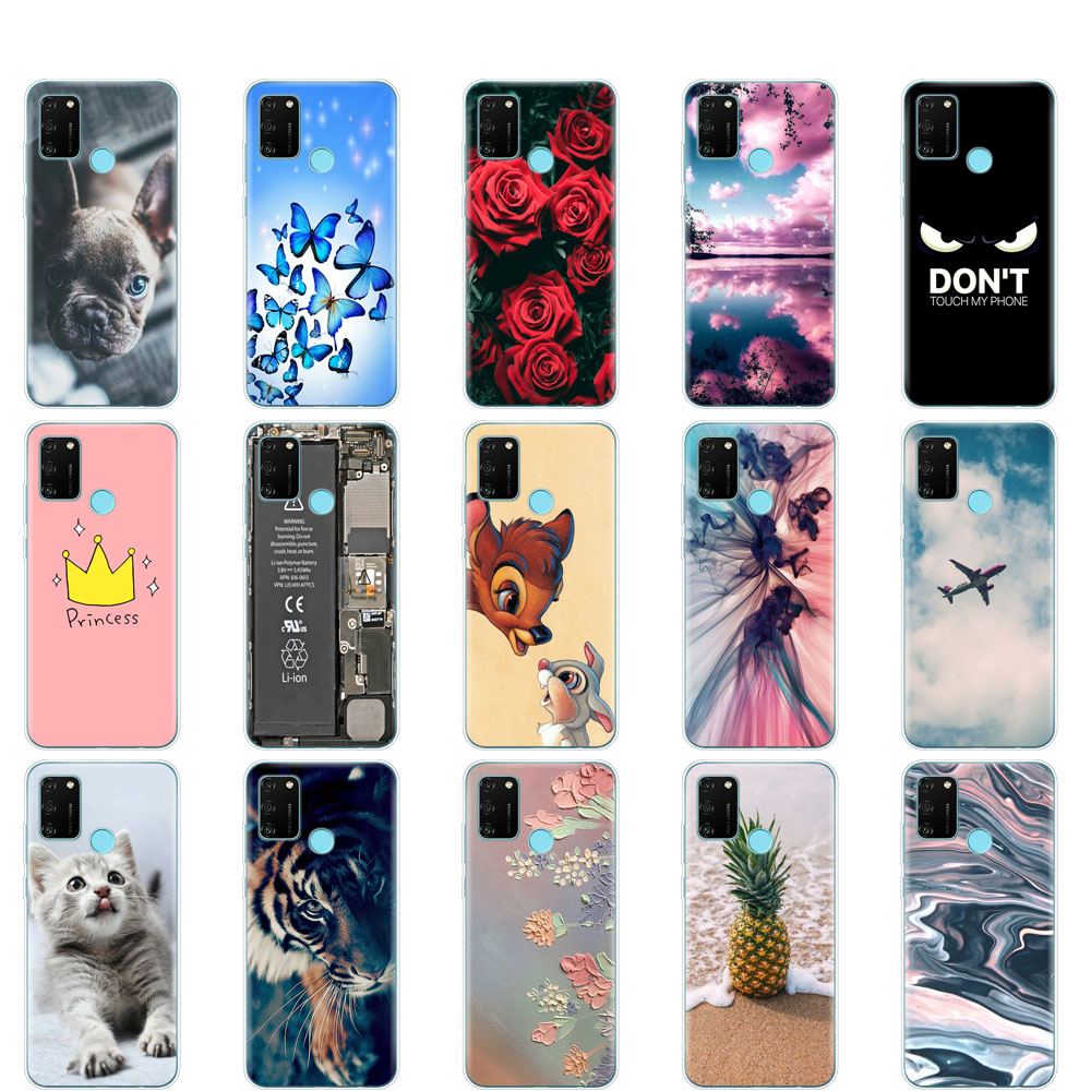"Case For HONOR 9A Case 6.3"" Soft Tpu Phone Silicon Cover For Huawei Honor 9A 9 A MOA-LX9N Back Protective Coque Funda Shell"