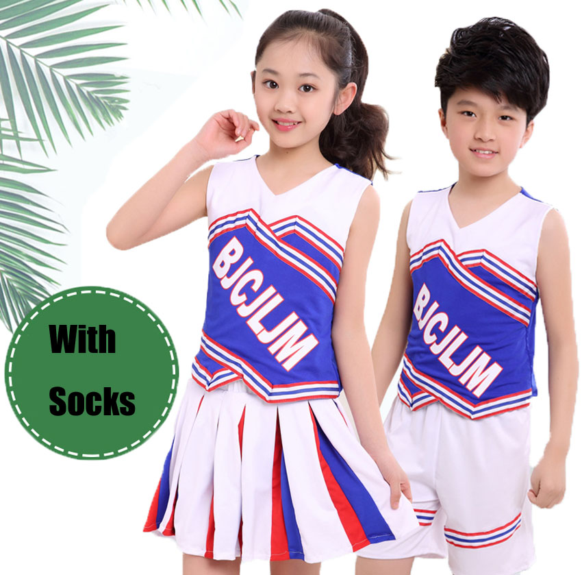 Children Cheerleading Costumes School Performance Clothing Girl Skirt Boy Shorts Uniform With Socks Baby Gymnastics Suits