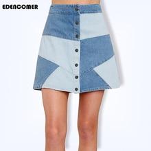 European Denim Skirt Women 2019 Summer Autumn New Contrast High Waist Single-breasted Blue Casual Mini Skirts Korean Streetwear
