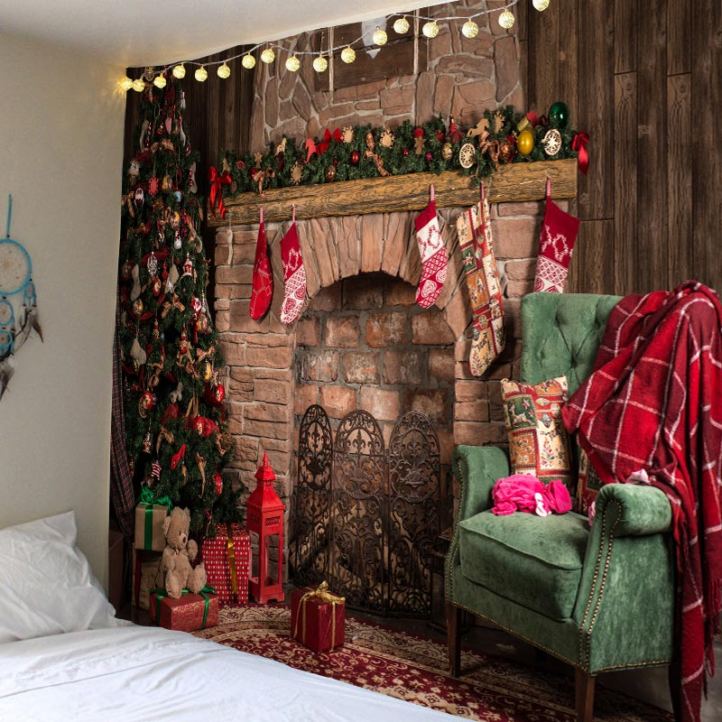 Tapestry Christmas-Fireplace Wall-Hanging Home-Deco Large-Size