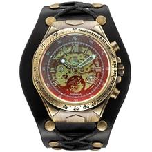 Men Automatic Mechanical Watch Skeleton Big Large Dial Wrist