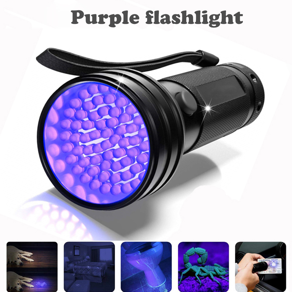 LED UV Black Light ไฟฉายอัลตราไวโอเลตไฟฉายสำหรับการล่าสัตว์เครื่องตรวจจับคราบปัสสาวะแมงป่องฟังก์ชั...