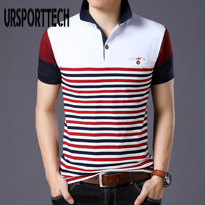 Hot Sale 95% Cotton Summer Polo Shirt Men Short Sleeves Fashion Casual Striped Polo Shirts For Men Plus Size M-5XL Tops Tees