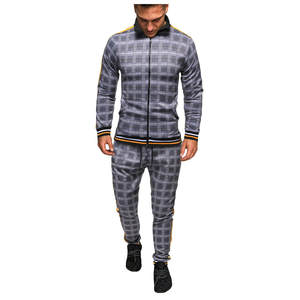 Tracksuit Men Sweatshirt Sporting-Suit Men-Sets Plaid Brand Fashion New Zipper