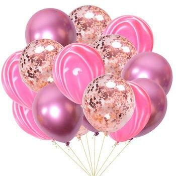 15pcs 12inch Agate Balloons with Confetti Baloon Metal  Latex Balloon Birthday Party Weddding Decoration Globos Graduation Decor