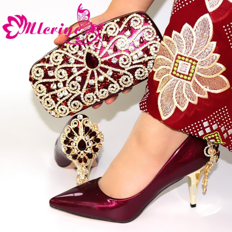 Superbe Style chaussures Match main pochette pour mariage, couleur vin chaussures à talons hauts avec pierres sac ensembles 8cm