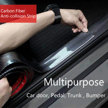 Car Stickers 5D Carbon Fiber Rubber Styling Door Sill Protector Sticker For KIA Toyota BMW Audi Mazda Ford Hyundai Accessories car styling racing sticker body waist car door side scratches decorative decals hood stickers for ford vw bmw audi mazda subaru