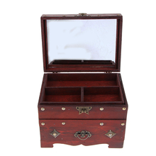 Vintage Wooden Jewelry Box w/ Lock Storage Rings Trinket Case Home Office Retro Organizer for Woman Wedding Gift