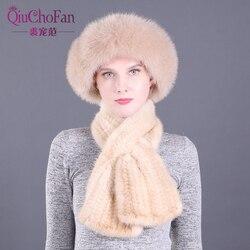 Женские зимние вязаные шапки из натурального меха норки, шапки и прямые шарфы для улицы, вязаные шапки из натурального меха