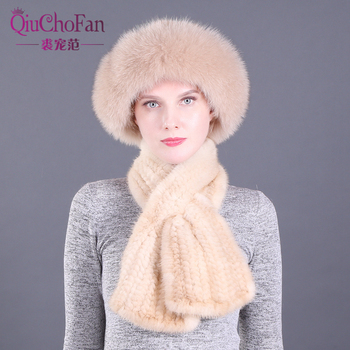 Women Winter Knitted Genuine Mink Fur Princess Bucket Cap Hats & Straight Scarves Outdoor Knitted Natural Fur Beanie Scarf fashion 2 use cap knitted scarf
