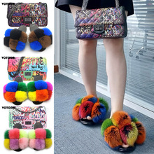 Slippers Shoes Handbag Jelly-Bag-Set Fur Slides Rainbow Furry Real-Fox-Fur Women Fashion