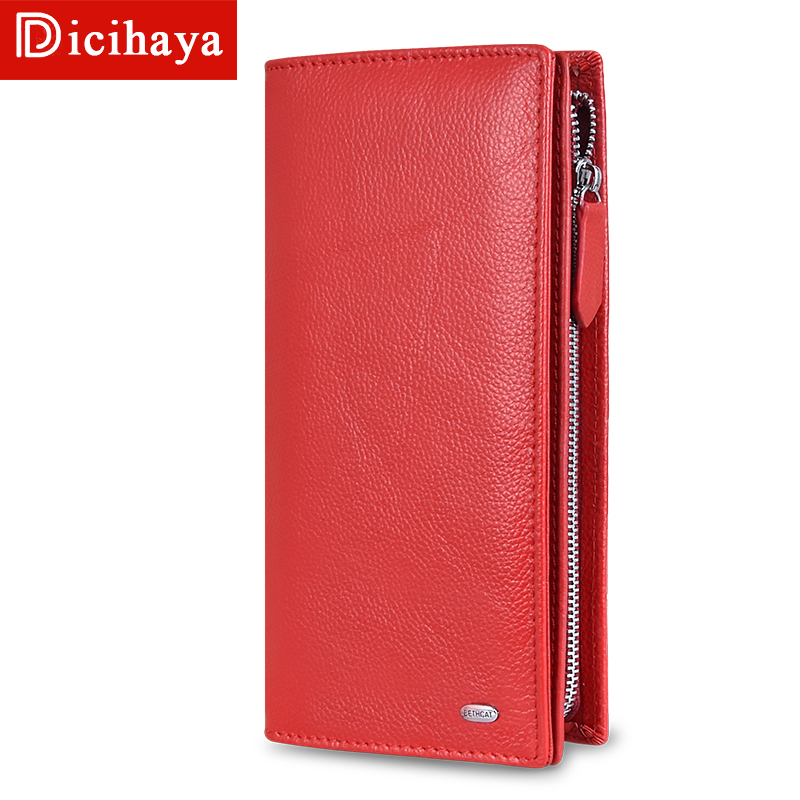 DICIHAYA 2019 Women Wallets Genuine Leather RFID Blocking Functional Wallet Zipper Long Card Holder Ladies Coin Purse Phone Bag