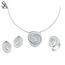 SA SILVERAGE Necklaces 925 Silver Stud Earrings Wedding Rings 925 Sterling Silver Rose Jewelry Sets for Women Choker Pendant silverage real 925 sterling silver star jewelry sets for women fine jewelry star necklaces couple jewelry wedding gifts