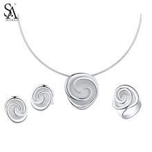 SA SILVERAGE Necklaces 925 Silver Stud Earrings Wedding Rings 925 Sterling Silver Rose Jewelry Sets for Women Choker Pendant(China)