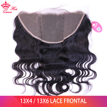 Closure 13x4 Hair-Ear Human-Hair Lace-Frontal Body-Wave Queen Pre-Plucked 13x6 Brazilian