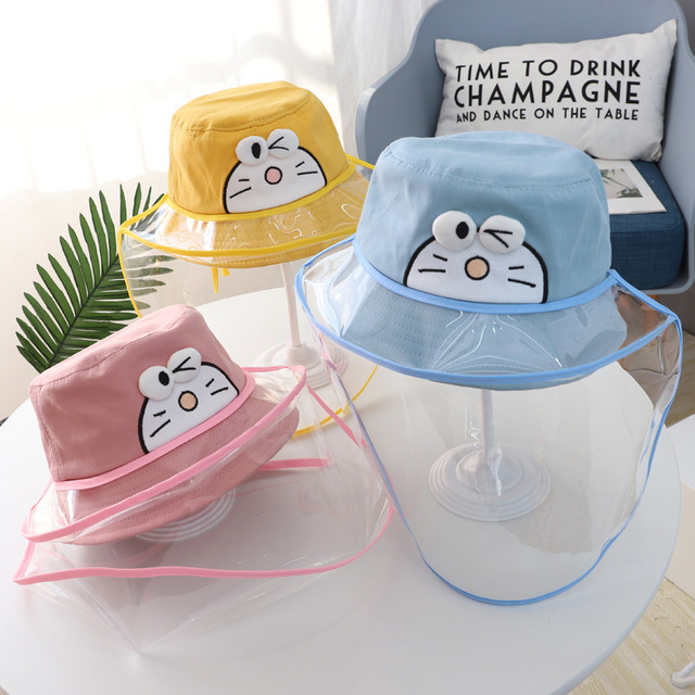 Baby Kids Bucket Hat Boys Girls Cap Protective Face Shield Cover Mask Detachable Sun Hats Anti Saliva Dustproof Fisherman Caps 5