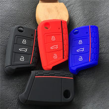 silicone car key fob protect cover case set skin for VW polo golf 7 MK7 for Skoda Octavia combi A7 for SEAT Leon Ibiza CUPTRA(China)