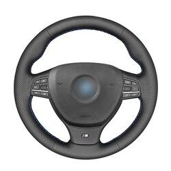 Protector de cuero Artificial para volante de coche, protector de cuero Artificial, negro de punto, para BMW M Sport F10 F11 F07 M5 F10 2013-2018 F12 F13 F06 F01 F02