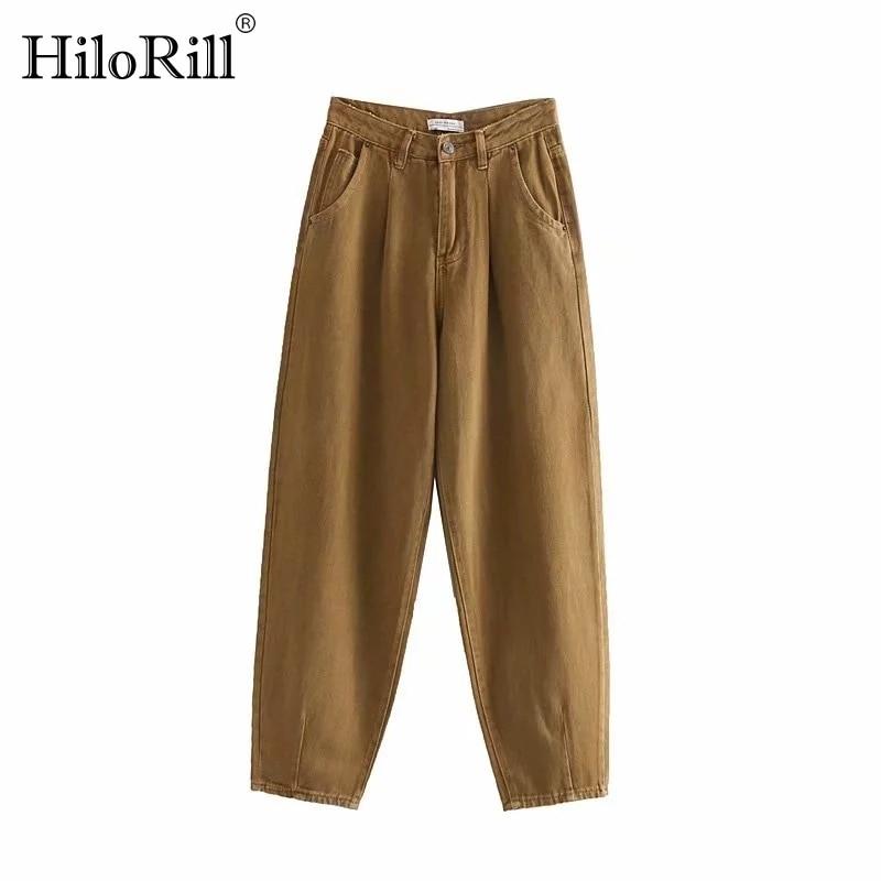 Women Loose Denim Harem Pants Boyfriend Style Long Trousers Casual Jeans Pockets Ladies Zipper Bottoms Fashion Mom Jeans