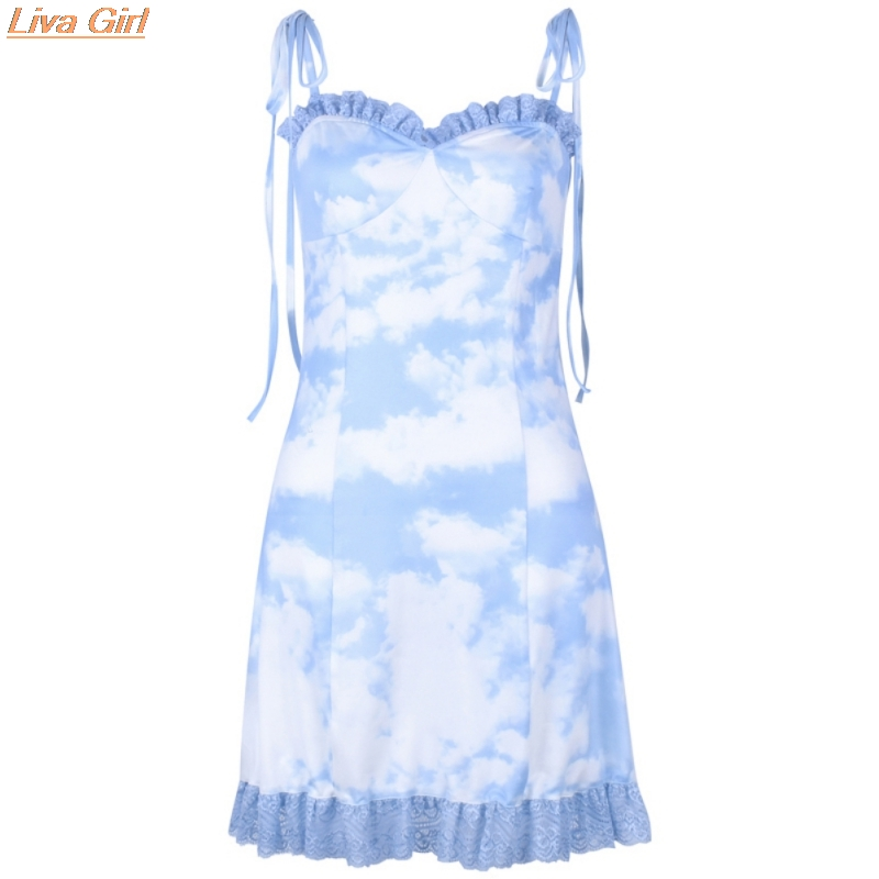 Women's Summer Clouds Print Ruched Ruffles <font><b>A</b></font> <font><b>Line</b></font> <font><b>Dress</b></font> Women <font><b>Sexy</b></font> Lace Up Spaghetti Strap Bodycon Party Sleeveless <font><b>Dress</b></font> image