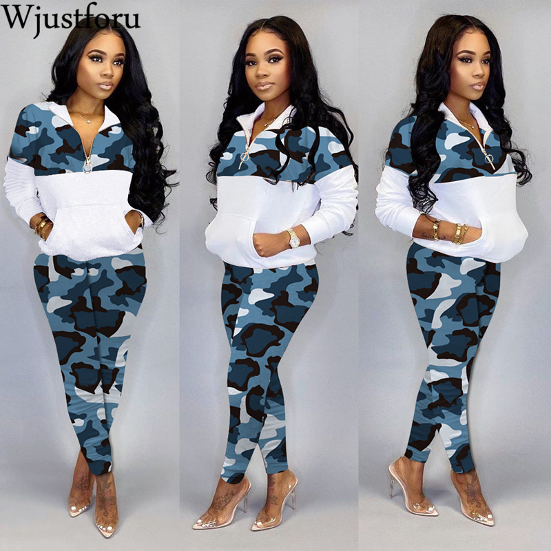 Wjustforu Spring Patchwork Leopard Two Piece Set Women Hoodies Sweatershirt + Pencil Pants Casual Sporting Tracksuit Vestidos