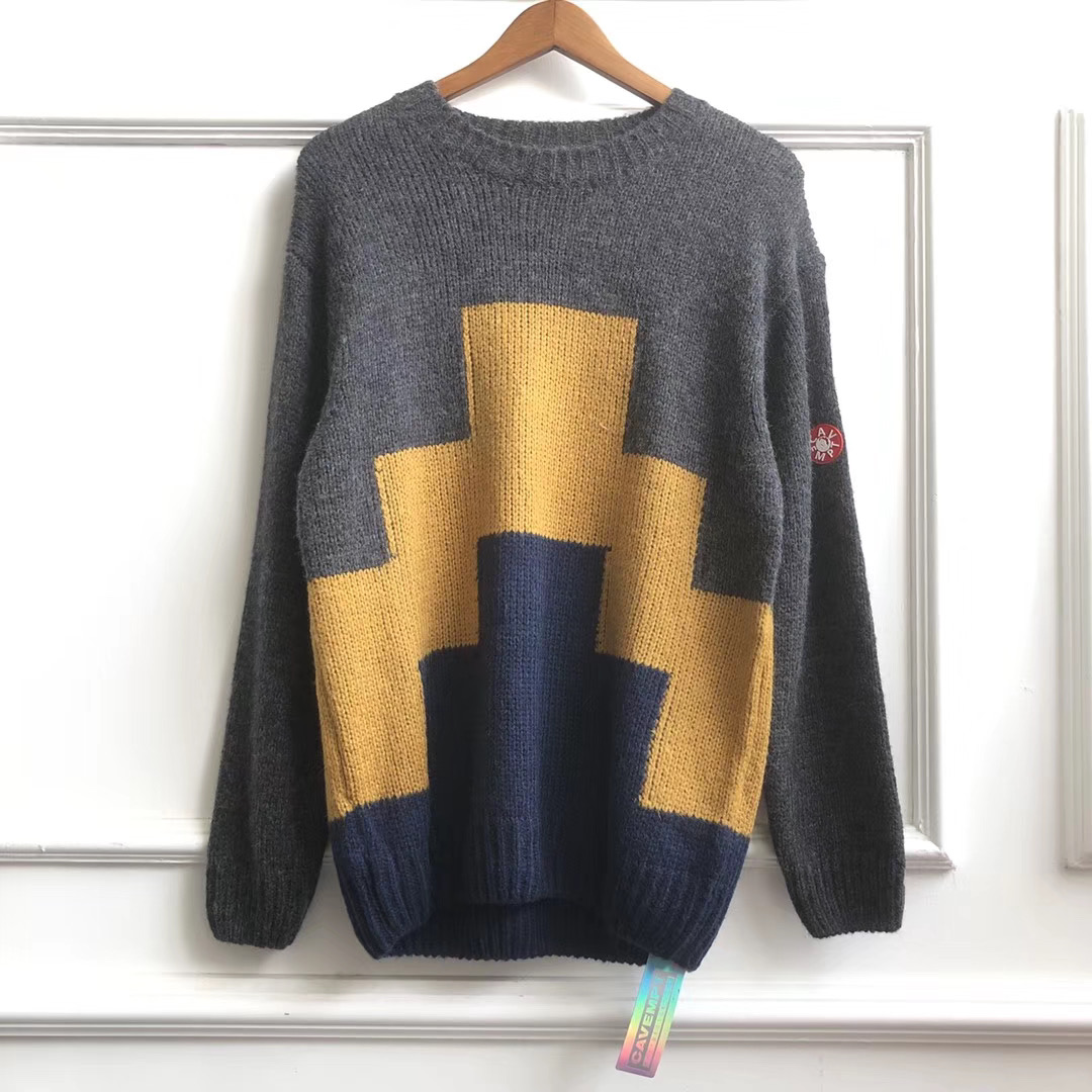 1:1 Version Oversized CAVEMPT Ziggurant Knit Sweaters Women Men Pullovers Cav Empt C.E Round Neck Men Geometry Printed Sweaters