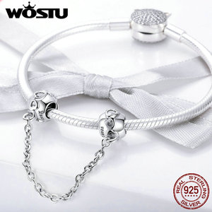Image 4 - WOSTU Pave Inspiration Safety Chain 100% 925 Sterling Silver Charm Fit Original Bracelet DIY Bangles For Woman Fashion Jewelry