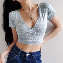 Women Floral Print Crossover V neck Short Sleeved Crop Top Cotton Blend Crop TeeT-Shirts