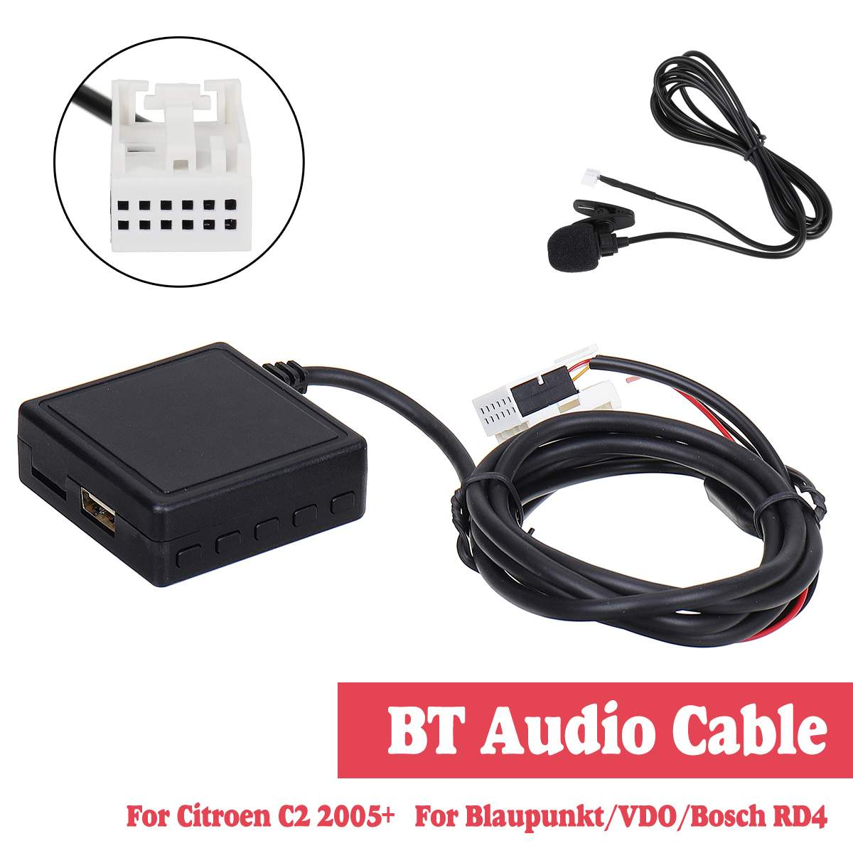 HIFI Audio <font><b>Car</b></font> <font><b>bluetooth</b></font> <font><b>5.0</b></font> Module AUX Microphone Cable <font><b>Adapter</b></font> Radio Stereo For Citroen C2 For Peugeot 307 408 807 1007 image