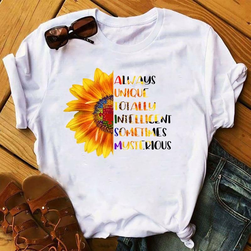 Women 2020 Sunflower Floral Casual Fashion Cartoon Clothing Lady Womens Top T Shirt T-shirts Ladies Graphic Female Tee T-Shirt