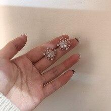 snowflske crystal flower earrings simple  fashion jewelry indian trendy luxury korean christmas stud